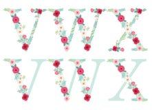 Lettere d'annata sveglie di alfabeto con i fiori rustici disegnati a mano illustrazione di stock