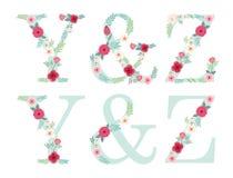 Lettere d'annata sveglie di alfabeto con i fiori rustici disegnati a mano illustrazione vettoriale