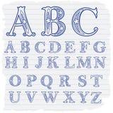 Lettere decorative disegnate a mano di alfabeto inglese Immagine Stock Libera da Diritti