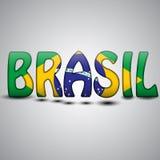 Lettere del Brasile con la bandiera brasiliana Gioco del calcio 2014 Immagine Stock Libera da Diritti