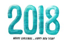 Lettere del maglione tricottate acquerello lettere a foglie rampanti Cartolina d'auguri 2018 del nuovo anno Immagini Stock Libere da Diritti