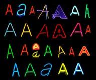 Lettere del neon Fotografia Stock