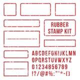 Lettere del timbro di gomma Simboli rossi della struttura e dello scritto tipografico dei bolli con i numeri di fonte Insieme di  illustrazione vettoriale