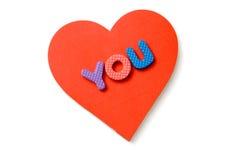 Lettere della gomma piuma e del cuore Fotografia Stock Libera da Diritti