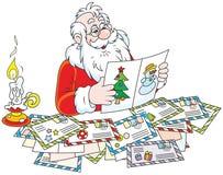 Lettere della lettura di Santa Claus Immagine Stock