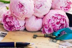 Lettere della penna e dell'oggetto d'antiquariato di spoletta Immagini Stock Libere da Diritti
