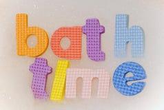 Lettere della schiuma di tempo del bagno Immagine Stock Libera da Diritti
