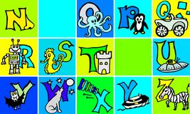 Lettere di ABC con le immagini nella versione tedesca ed inglese della parte 2 seconda royalty illustrazione gratis