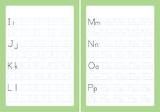 Lettere di alfabeto di ABC che rintracciano foglio di lavoro con le lettere di alfabeto Pratica di scrittura di base per la carta illustrazione di stock