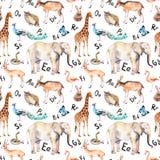 Lettere di alfabeto, animali selvatici, uccelli Reticolo senza giunte puerile Acquerello dello zoo royalty illustrazione gratis
