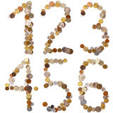 1-2-3-4-5-6 lettere di alfabeto dalle monete Immagine Stock