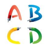 Lettere di alfabeto del pennello Fotografia Stock