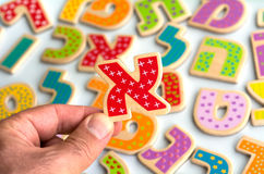 Lettere di alfabeto ebraico Fotografie Stock
