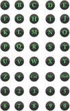 Lettere di alfabeto, numeri naturali e chiavi principali Immagine Stock