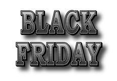 Lettere di Black Friday dell'iscrizione retro con un'ombra isolata su fondo bianco Fotografia Stock