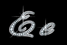 Lettere di Bling EE del diamante dello scritto Fotografie Stock
