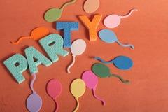 Lettere di divertimento del partito Fotografia Stock