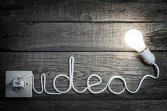 Lettere di idea di concetto di creatività con la lampadina ed il cavo Fotografia Stock Libera da Diritti