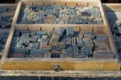 Lettere di legno antiche Fotografia Stock