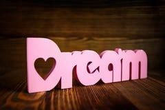 Lettere di legno di sogno fotografie stock libere da diritti