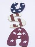 Lettere di legno di U.S.A. Immagine Stock