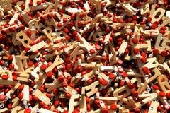 Lettere di legno sulle ruote Fotografia Stock