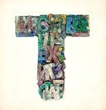 Lettere di legno T Immagini Stock