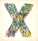 Lettere di legno, X Fotografia Stock