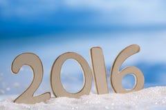 2016 lettere di numeri con l'oceano, la spiaggia e la vista sul mare Fotografie Stock Libere da Diritti