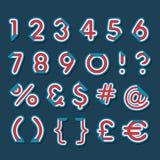 Lettere di numero con l'angolo piegato Fotografia Stock