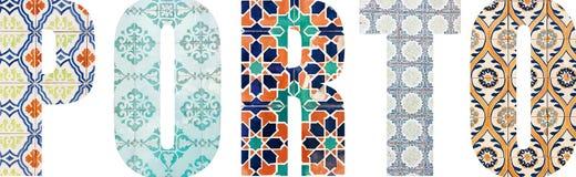 Lettere di Oporto riempite di mattonelle portoghesi fotografia stock libera da diritti