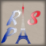 Lettere di Parigi con la torre Eiffel Immagini Stock