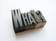 Lettere di Woodtype che chiedono ad una domanda che cosa Fotografia Stock Libera da Diritti