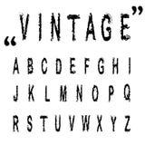 Lettere disegnate a mano, alfabeto d'annata ABC di vettore Immagine Stock