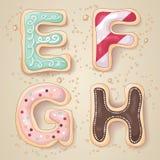 Lettere disegnate a mano dell'alfabeto da E a H Immagine Stock