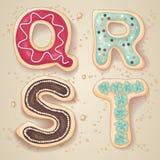 Lettere disegnate a mano dell'alfabeto da Q a T Fotografie Stock