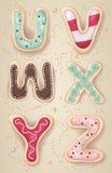 Lettere disegnate a mano dell'alfabeto da U a Z Fotografia Stock