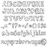 Lettere disegnate a mano di alfabeto Vettore Fotografie Stock Libere da Diritti