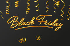 Lettere dorate del testo della carta di calligrafia dell'iscrizione di vendita di Black Friday Corrente d'arricciatura dell'oro I Immagini Stock