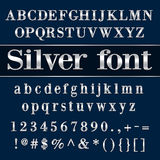 Lettere e cifre rivestite di alfabeto dell'argento di vettore Fotografie Stock