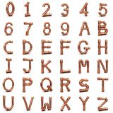 lettere e numeri del tubo del rame 3d Immagine Stock