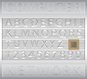 Lettere e numeri di alfabeto nello stile di Techno Fotografia Stock
