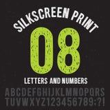 Lettere e numeri di stile della stampa del Silkscreen Insieme d'annata di vettore di alfabeto di lerciume Immagine Stock