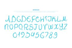 Lettere e numeri disegnati a mano di alfabeto acquerello, tipo di carattere Fotografia Stock