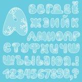Lettere e numeri russi maiuscoli di alfabeto Fotografia Stock Libera da Diritti