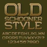 Lettere e numeri a strisce marroni dorati Bella fonte tondeggiante royalty illustrazione gratis