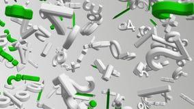 Lettere e simboli astratti di volo nei colori bianchi e verdi illustrazione di stock