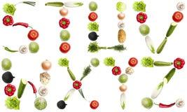 Lettere fatte delle verdure Fotografie Stock Libere da Diritti
