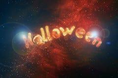 Lettere illustrate di Halloween dell'iscrizione dai carboni brucianti illustrazione di stock