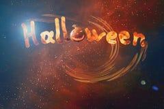 Lettere illustrate di Halloween dell'iscrizione dai carboni brucianti illustrazione vettoriale